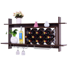 Load image into Gallery viewer, Wall Mount Wine Rack w/ Glass Holder & Storage Shelf Organizer