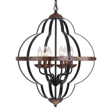Load image into Gallery viewer, ORB Rustic Vintage 6-Light Chandelier(Black & Copper)