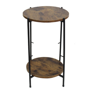 Wood Color Wrought Iron  Round Side Table W/ Waterproof Cloth Newspaper Bag