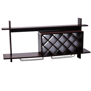 Wall Mount Wine Rack w/ Glass Holder & Storage Shelf Organizer