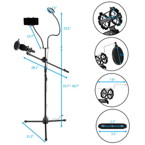 "3.5"" Selfie Ring Light w/ Tripod Stand/ Phone Holder/ Mic Stand/ Pop Filter"