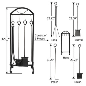 5 PCS Wrought Iron Indoor/ Outdoor Toolset W/ Decor Holder Stand