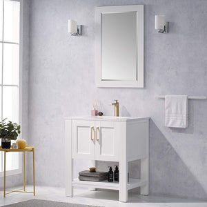 "F&R 30"" Bathroom Vanity  & Sink Combo w/  Marble Countertop (White/ Blue/ Gray)"
