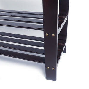 3-Tier Bamboo Shoe Storage Entryway Bench