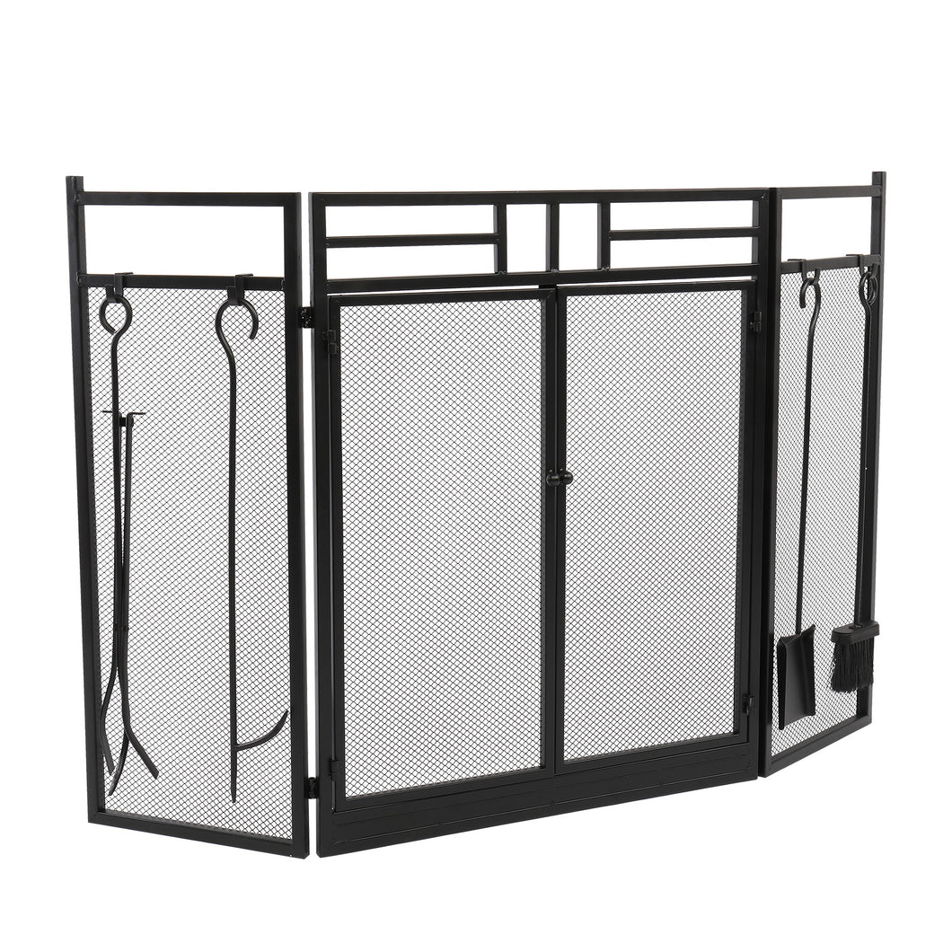 3 Panel Wrought Iron  Decorative Mesh Fireplace Screen(Black)