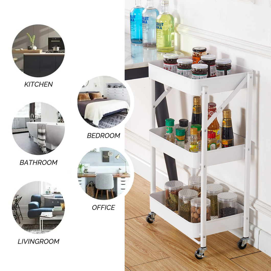 Multifunction Foldable 3-Layer Mobile Storage Trolley