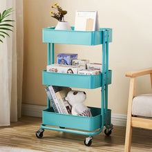 Load image into Gallery viewer, 3-Tier Metal Rolling Multiuse Utility Cart w/ Adjustable Shelves