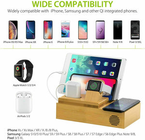 Bamboo Charging Dock Station Charger Holder Stand For iphone iWatch iPad AirPods