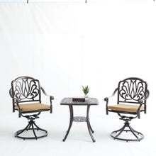 Load image into Gallery viewer, Elizabeth Cast Aluminum Garden Furniture 3 Pcs Set W/ Cushions -Bronze