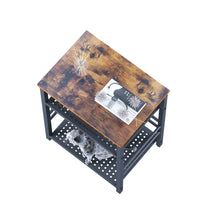 Load image into Gallery viewer, Multiuse Industrial End Table With Adjustable Mesh Shelves