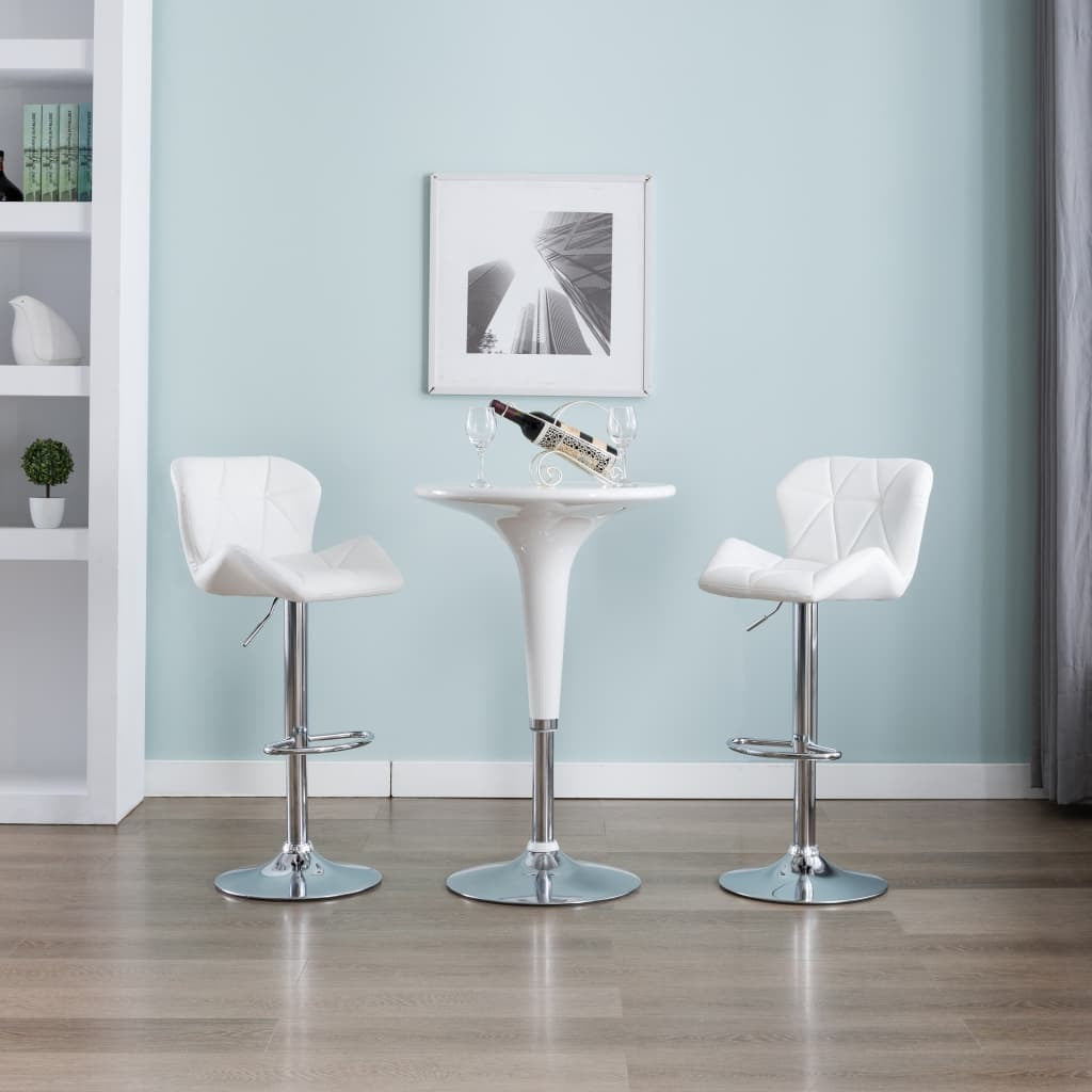 Bar Stool White Faux Leather