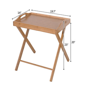 Floor Standing Folding Wood Color Bamboo Portable Tray Table