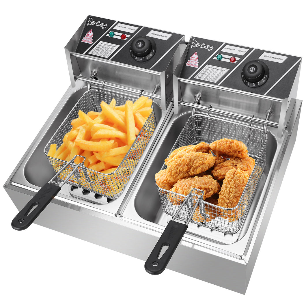 12.7QT/12L Stainless Steel Double Cylinder Deep Fryer w/ Baskets