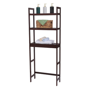 Over-The Toilet 3-Tier Bamboo Organizer W/ Adjustable Shelves/Brown/White