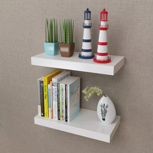 "2- White MDF Floating Wall Display Shelves  15.7"" x 7.9"" x 1.5"""