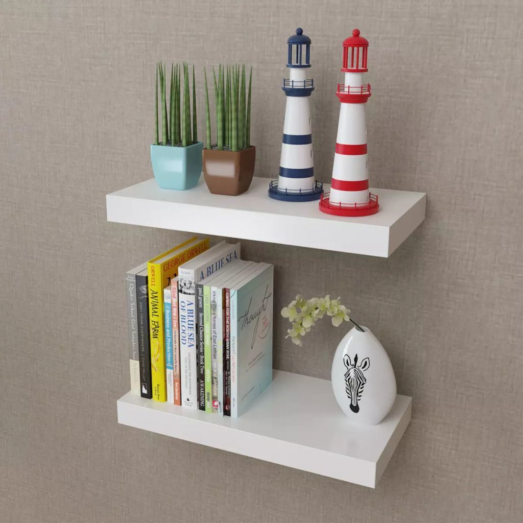 2- White MDF Floating Wall Display Shelves  15.7