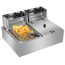 Load image into Gallery viewer, 12.7QT/12L Stainless Steel Double Cylinder Deep Fryer w/ Baskets