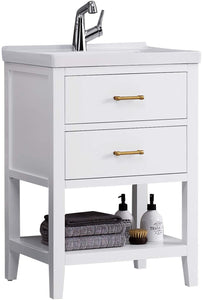 "F&R Solid Wood Bathroom Vanity 24"" w/ Ceramic Vessel Sink Combo (White/ Gray)"