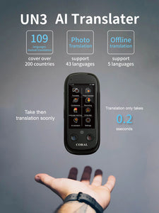 Coral Vision UN3 Portable WIFI  AI 109 Language Translator