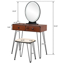 Load image into Gallery viewer, Vanity Set w/ 3 Color Dimming Touch Screen Lighted Mirror & Cushioned Stool