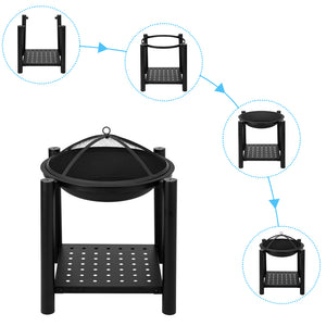 "22"" Four Feet Iron Brazier Decorative Wood Burning Pit"