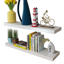 "Load image into Gallery viewer, 2 White MDF Floating Wall Display Shelves -  31.5"" x 7.9"" x 1.5"""