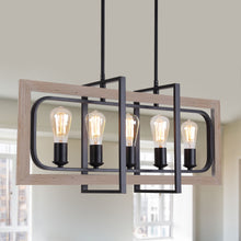 Load image into Gallery viewer, Metal & Black Finish Vintage Industrial 5-Light Chandelier