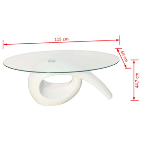 High Gloss White Coffee Table With Oval Top