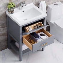 "Load image into Gallery viewer, F&R Solid Wood Bathroom Vanity 24"" w/ Ceramic Vessel Sink Combo (White/ Gray)"