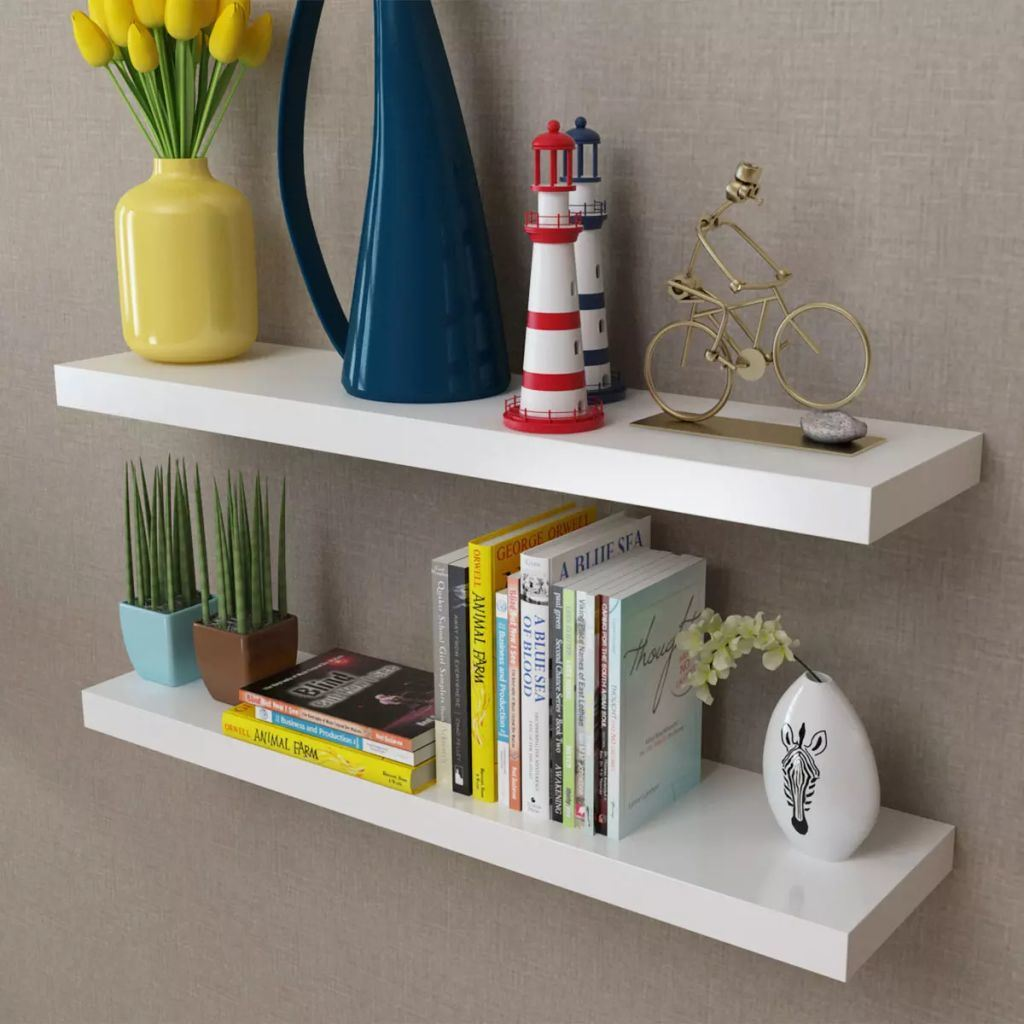 2 White MDF Floating Wall Display Shelves -  31.5