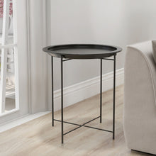 Load image into Gallery viewer, Round Chic Hammered  Metal Tray Coffee Table/End Table