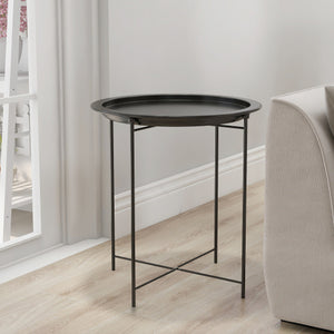 Round Chic Hammered  Metal Tray Coffee Table/End Table