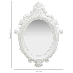 "Wall Mirror Castle Style 22""x29.9"" White"