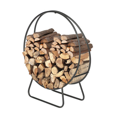 24-Inch Black Steel Indoor/Outdoor Firewood Log Hoop Rack - OUT OF STOCK