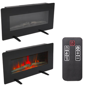 400W Adjustable Glass Electric Wall Mount Fireplace w/ Remote Control
