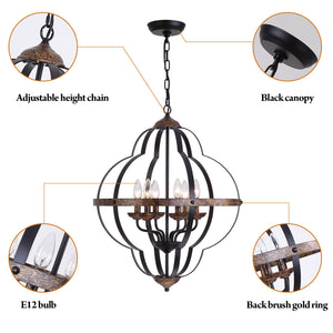 ORB Rustic Vintage 6-Light Chandelier(Black & Copper)