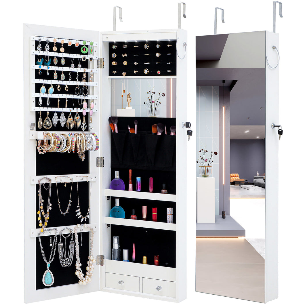 Fashion Jewelry Mirrored White Cabinet With LED Lights