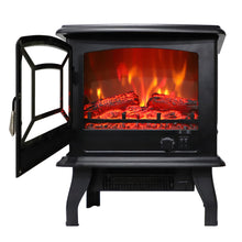 "Load image into Gallery viewer, 17"" 1400W Fireplace/ Fake Wood/Heating Wire/Temp. Control Knob/Switch Button"