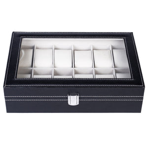 12 Slot Leather Unisex Watch/Jewelry Display Case Organizer