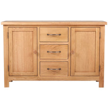 "Load image into Gallery viewer, Solid Oak Wood Sideboard W/ 3 Drawers 43.3""x13.2""x27.6"""