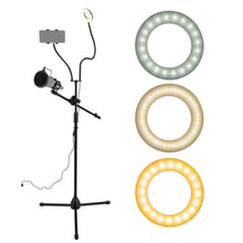 "Load image into Gallery viewer, 3.5"" Selfie Ring Light w/ Tripod Stand/ Phone Holder/ Mic Stand/ Pop Filter"