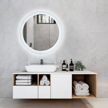 "Load image into Gallery viewer, Round 24"" Frameless LED Backlit Bathroom Vanity Mirror w/ Touch Dimmer Switch"