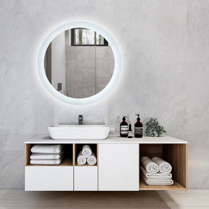 "Round 24"" Frameless LED Backlit Bathroom Vanity Mirror w/ Touch Dimmer Switch"