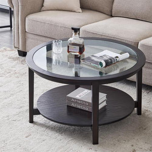 "36"" Modern Solid Wood Round Coffee Table w/ Tempered Glass Top- Black"
