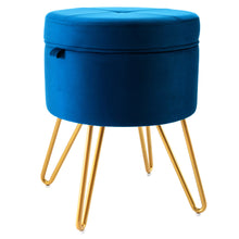 Load image into Gallery viewer, CoVibrant Velvet Round Ottoman Vanity Stool With Storage