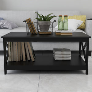 "39.56X21.65X17.71"" Black Oxford Coffee Table"