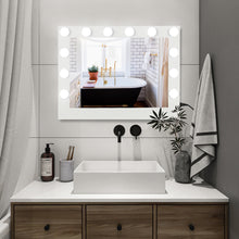 "Load image into Gallery viewer, (32 x 24 x 1.6)"" Hollywood Lighted Vanity Mirror W/ 14 Dimmable LED Bulbs"