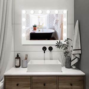 "(32 x 24 x 1.6)"" Hollywood Lighted Vanity Mirror W/ 14 Dimmable LED Bulbs"
