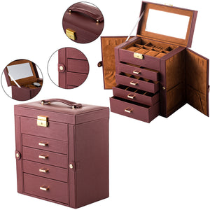 Spacious Lockable Faux Leather Jewelry Box Organizer With Mirror