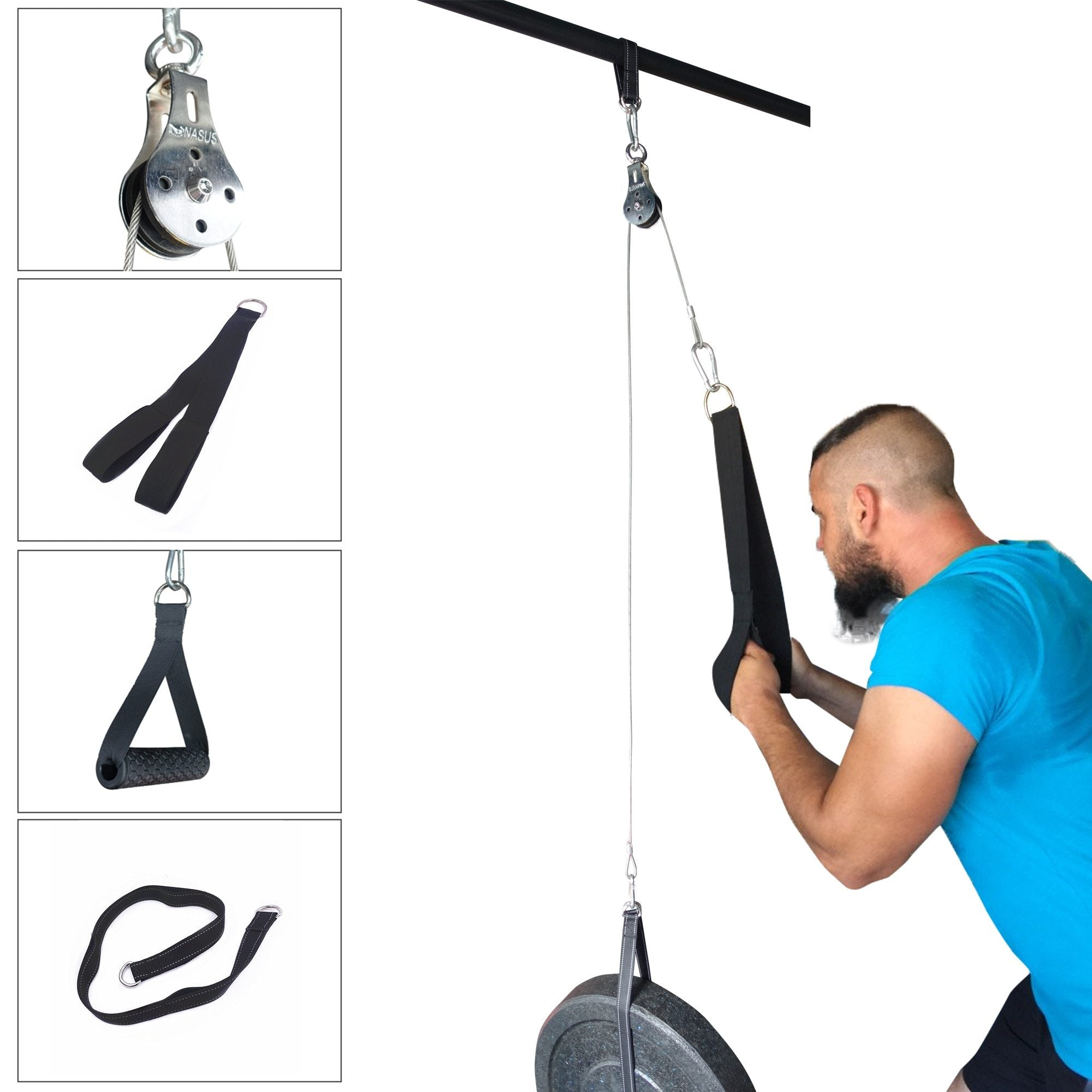 Fitness DIY Pulley Cable Machine Attachment System Arm Biceps Triceps Blaster Hand Strength Trainning Home Gym Workout Equipment - outoff